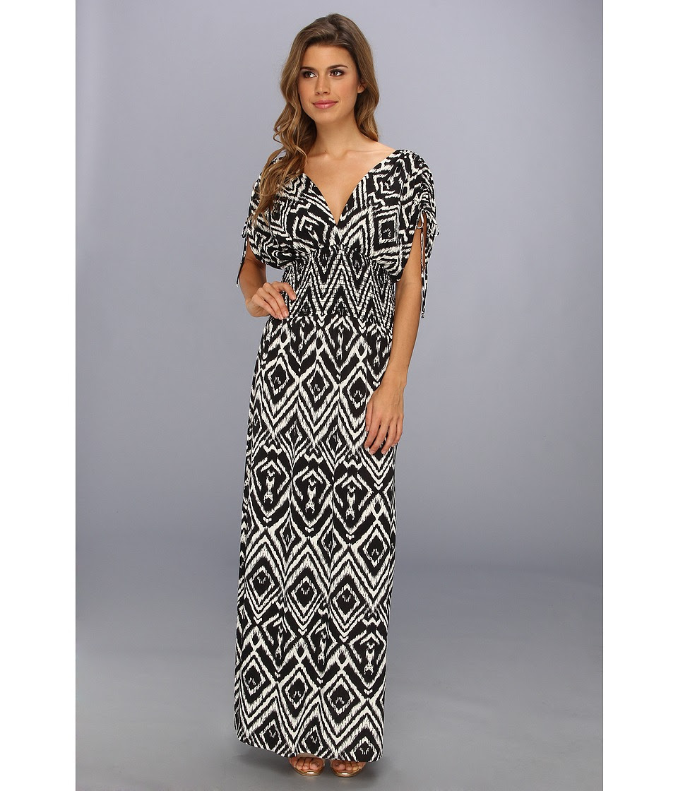 Tbags Los Angeles - Empire Smocked Waist Maxi Dress (CO2 Print) Women's Dress