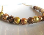Wire Wrapped Necklace - Spectra Glass beads in shades of gold
