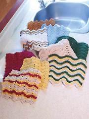 Easy Ripple Dishcloths Crochet Pattern - Electronic Download