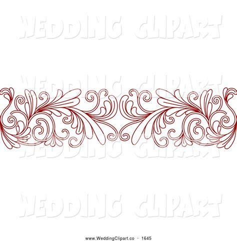 Vector Marriage Clipart of a Red Floral Border Wedding
