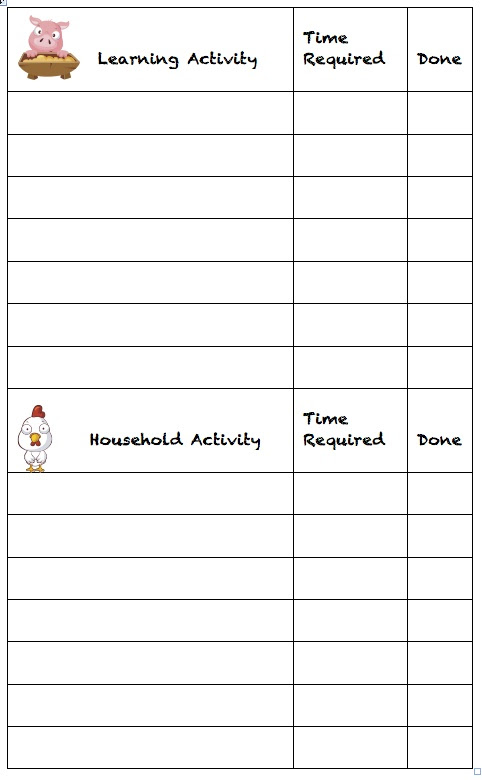daily to do list for kids calendar june
