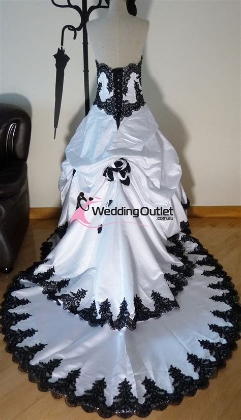 Scarlett Black and White wedding dress   WeddingOutlet.com.au