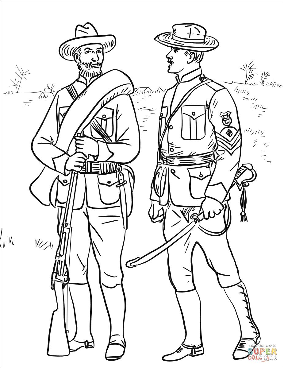 Dibujo De Soldados De Ee Uu En La Guerra Hispano Estadounidense