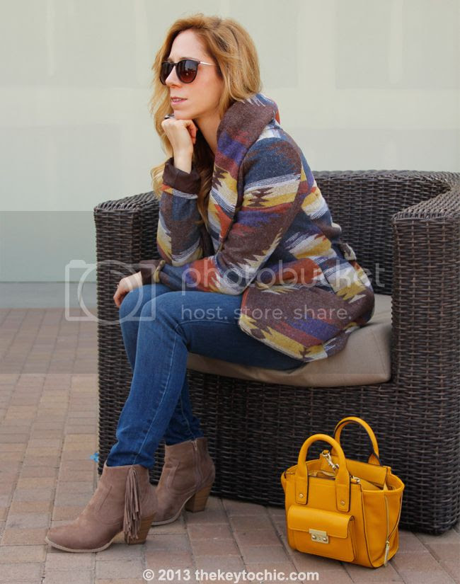 L.A. fashion blogger The Key To Chic wears Old Navy Rockstar jeans,a Phillip Lim for Target mini satchel, a Mossimo wrap coat, and Wet Seal fringe boots.