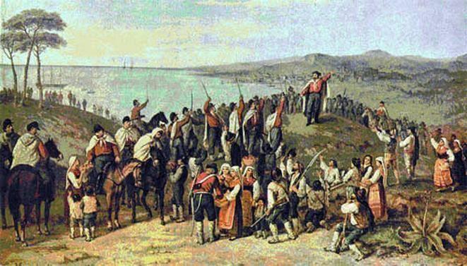 Un dipinto che ritrae Garibaldi in Sicilia