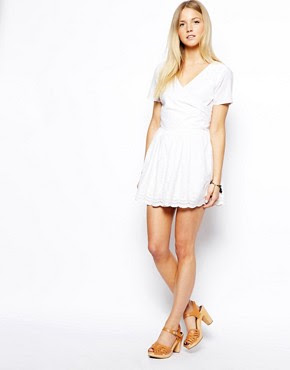 Image 4 ofASOS PETITE Exclusive Wrap Front Playsuit with Embroidered Short