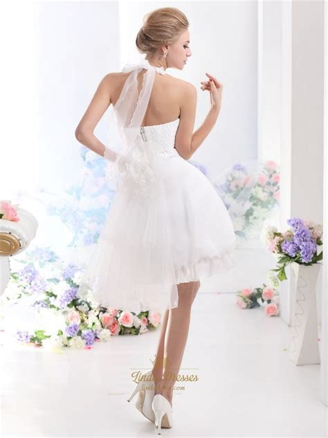 White Short Halter Neck Wedding Dresses With Pearls And