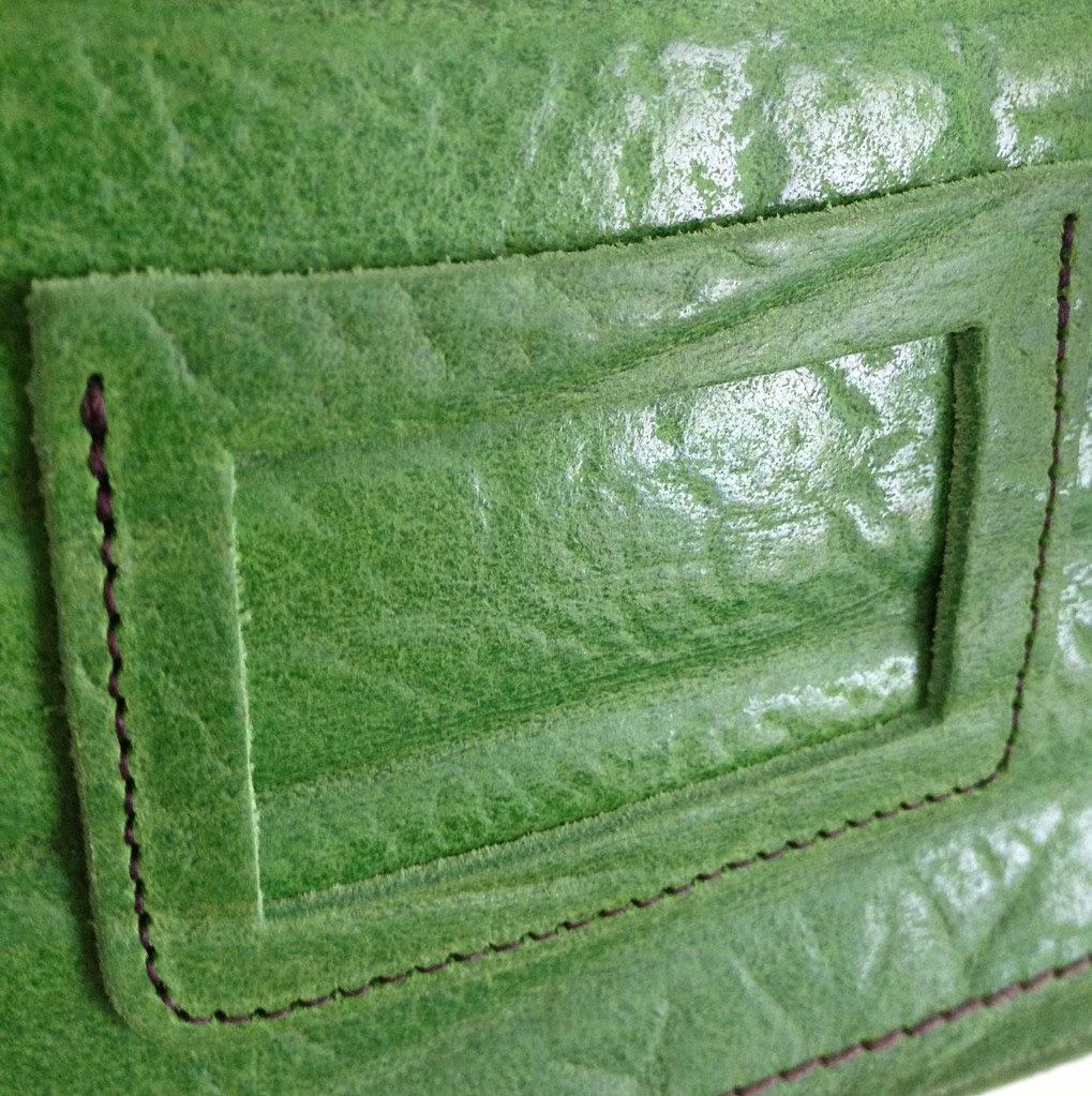 Zatchels Green Elephant Print detail