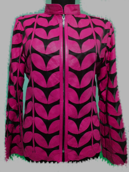 Pink Leather Leaf Jacket for Women [ Click to See Photos ]