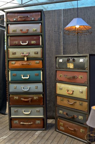 Repurposing suitcases into drawers.  The short one would look adorable in a vintage camper.