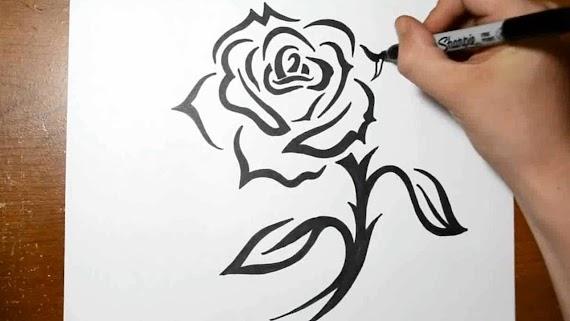 Rose With Stem Tattoo Designs