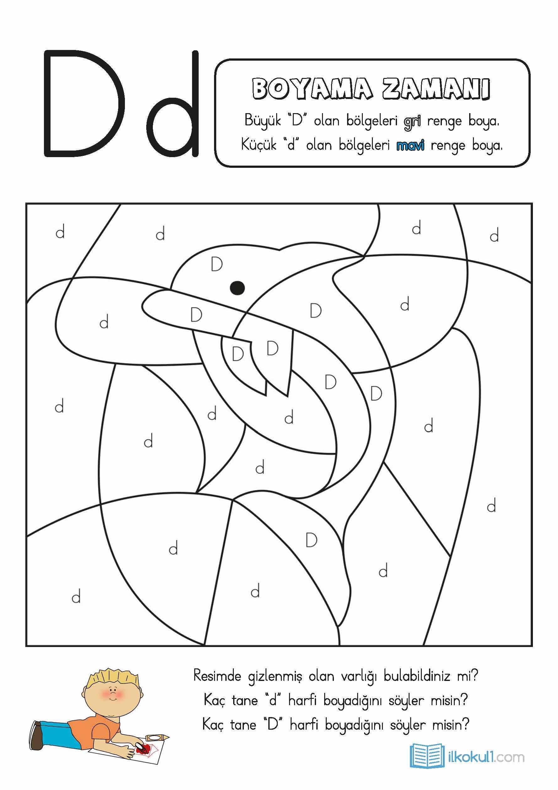 Dik Temel Harfler D Sesi Etkinlikleri Sınıf öğretmenleri Için