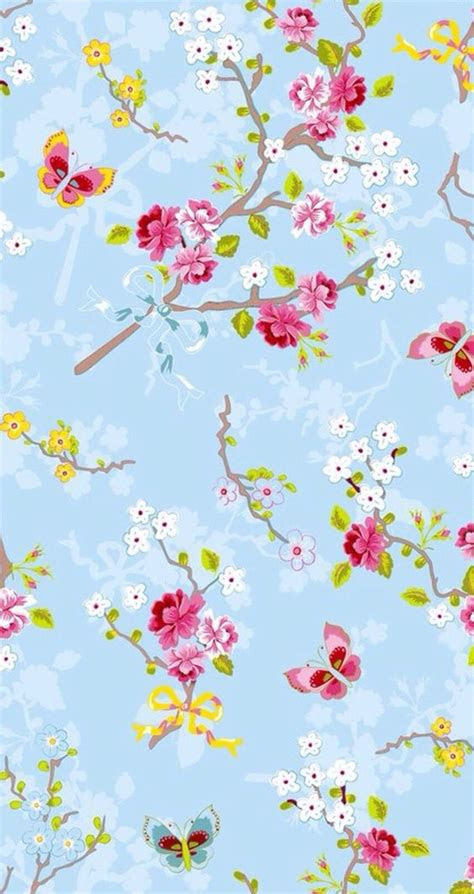 background blue floral flowers girly iphone pattern