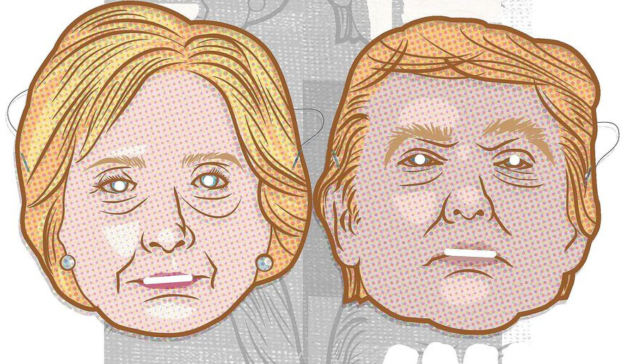 Illustration on the candidates' past words and deeds at odd with their public faces by Linas Garsys/The Washington Times
