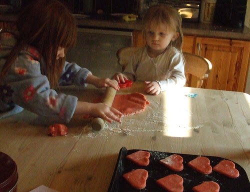 Making our pink valentines cookies