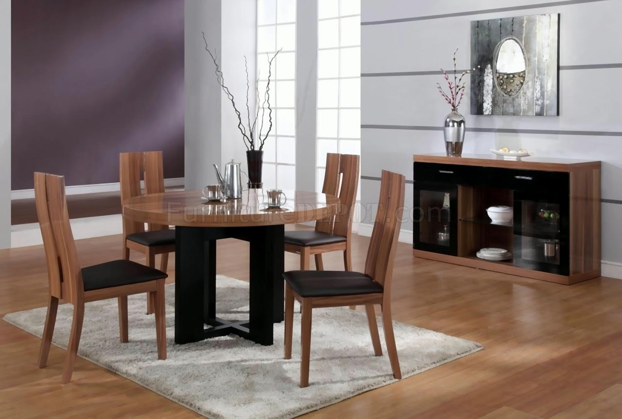 Matt Walnut Finish Modern Round Dining Table W Optional Items