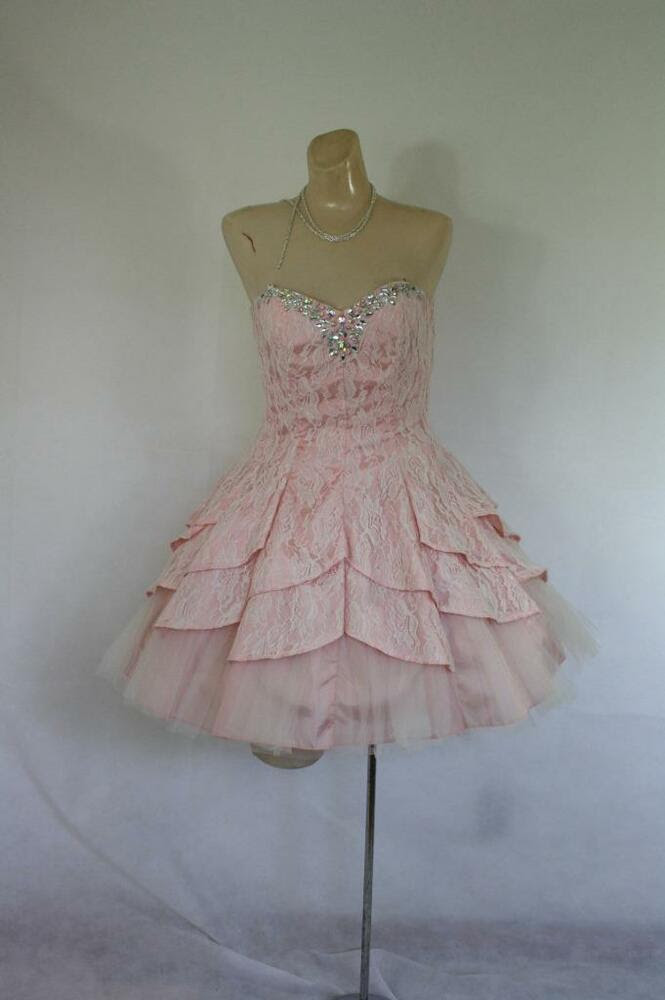 vintage prom dress peach lace  tulle rhinestone mini