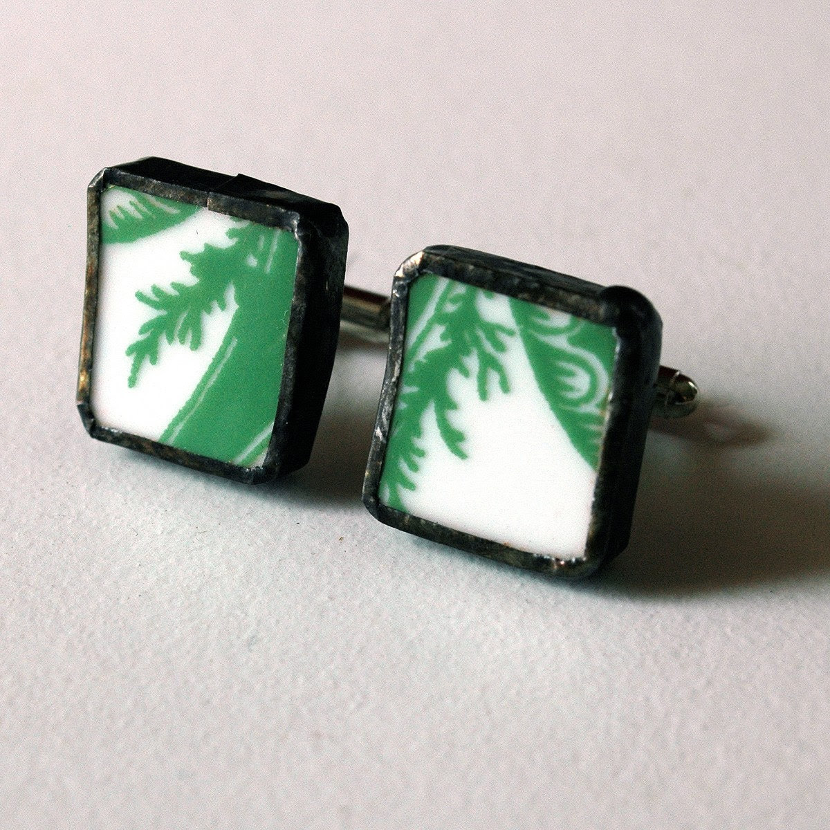 Green and white Broken Plate CuffLinks