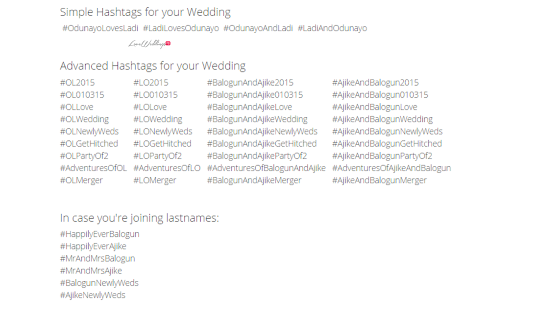 Wedding Hashtag Wall Loveweddingsng - #OdunLadi2015
