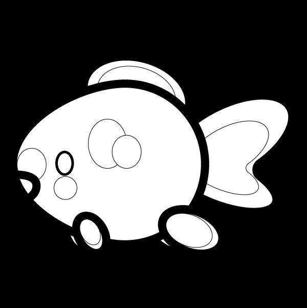 塗り絵に最適な白黒でかわいい金魚の無料イラスト商用フリー オイデ43
