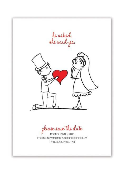 Sketch Couple Save the Date Announcement Minimal Wedding