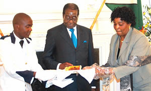 President Robert Mugabe of the Republic of Zimbabwe at a 87th birthday reception on Feb. 21, 2011. Mugabe has been the leader of the southern African state since national independence in 1980. He will stand for re-election this year. by Pan-African News Wire File Photos