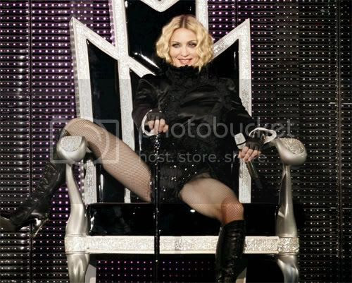 Madonna with her legs open on her 'Sticky & sweet' tour