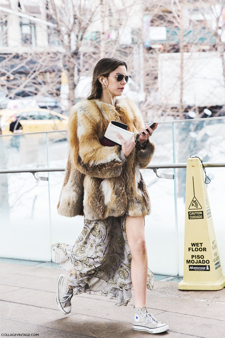 New_York_Fashion_Week-Fall_Winter_2015-Street_Style-NYFW-Fur_Coat-Long_Skirt-COnverse-2