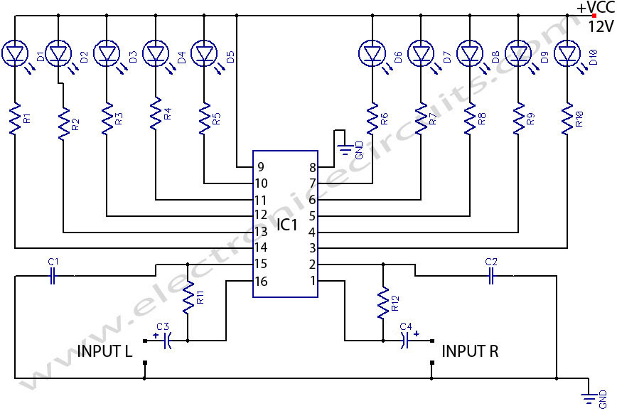 Stereo Audio Level Indicator Circuit Diagram Circuit