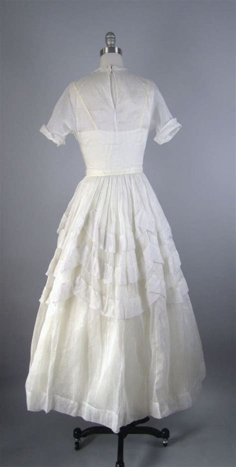 Hand Made Vintage 1940s Wedding Dress In White Cotton