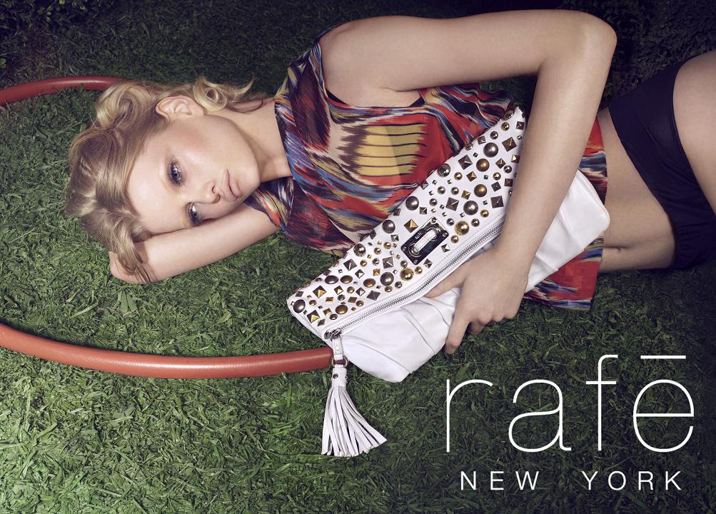 Rafe New York Spring/10 campaign - Salmon Tote w logoRiveted White Clutch w logo