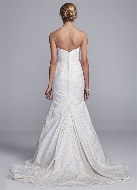 oleg cassini brocade strapless fit  flare wedding dress