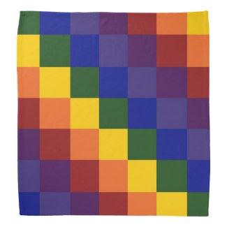 Checkered Rainbow Head Kerchief