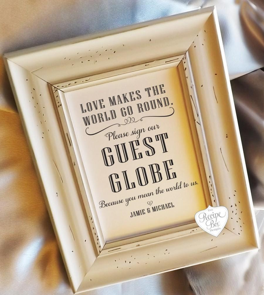 Guest Book Guest Globe Sign Alternative Guest Book Sign Wedding