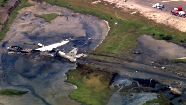 An aerial view of the wreckage from the Boeing 707 plane crash at Point Mugu naval air base in Ventura County on Thursday, May 19, 2011.