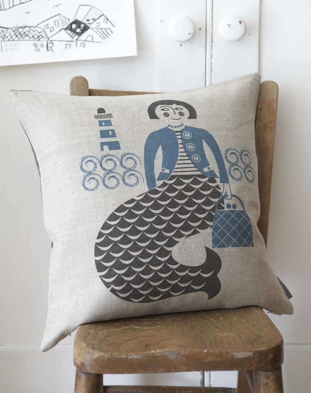 Mermaid cushion in blue and grey