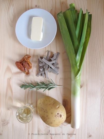 Pizzoccheri con prosciutto cotto, patate e porri - gli ingredienti