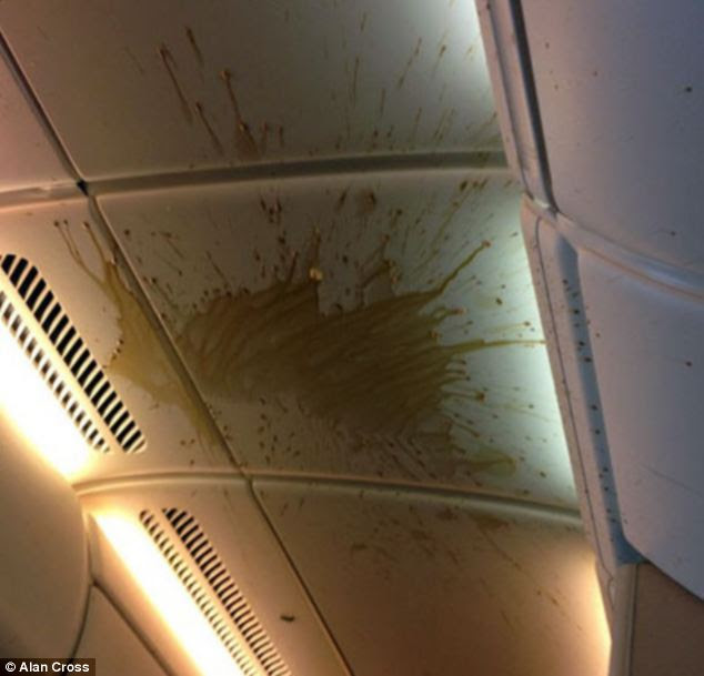 Coffee can be seen on the ceiling of the Singapore to Heathrow flight following the turbulence