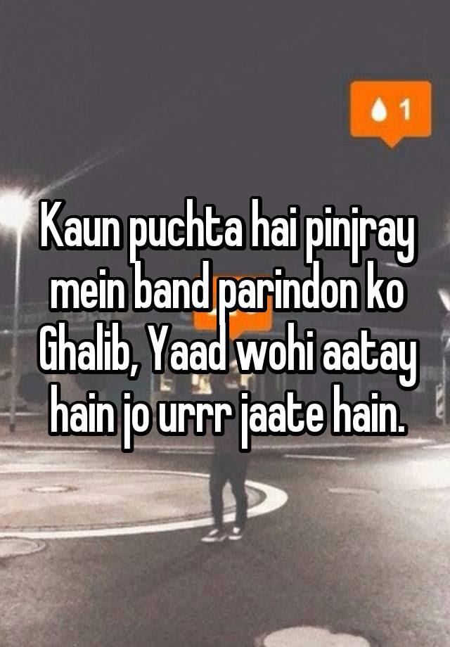 Image result for kaun puchta hai pinjare mein band parindo ko ghalib
