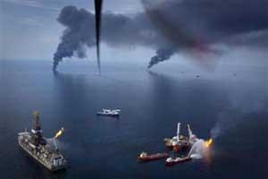 humaredas por la quema de petróleo