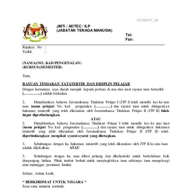 Surat Rasmi Rayuan Tindakan Tata Tertib Surat Cc