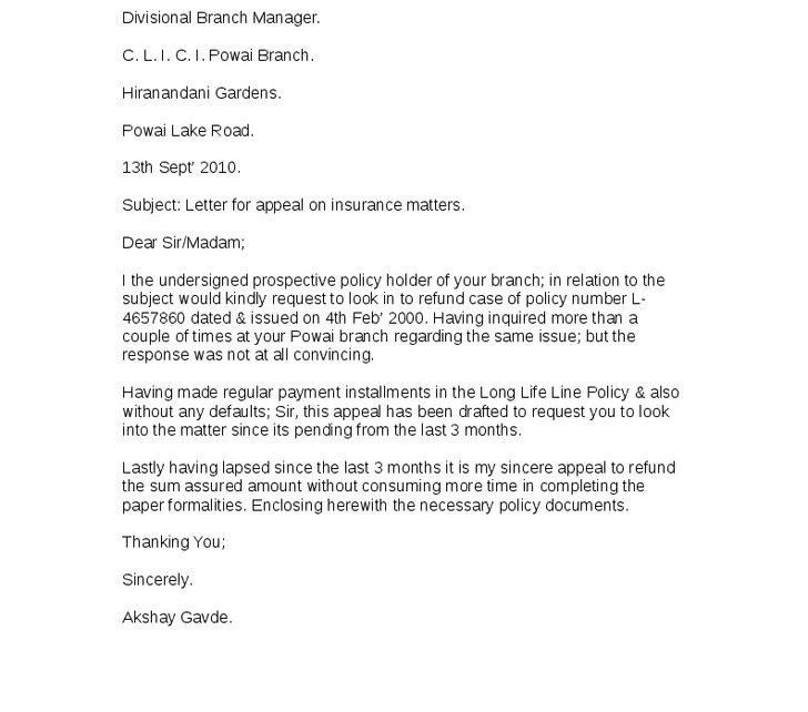 How to write an appeal letter for insurance - insurance
