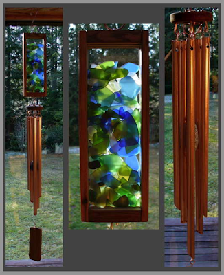 windchime, chime, beach glass, sea glass, copper, cedar, kaleidoscope, Tim Kline