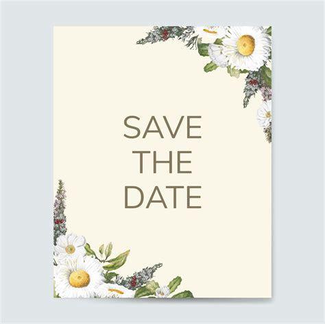 Save the date wedding invitation mockup card vector