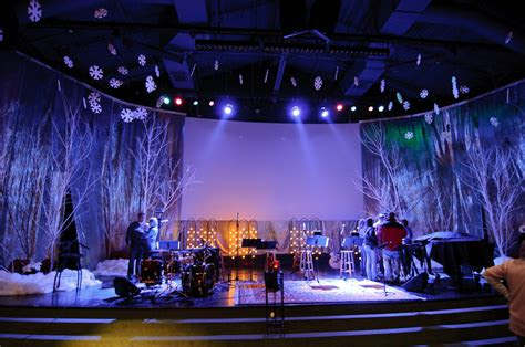 frosty forestry church stage design ideas