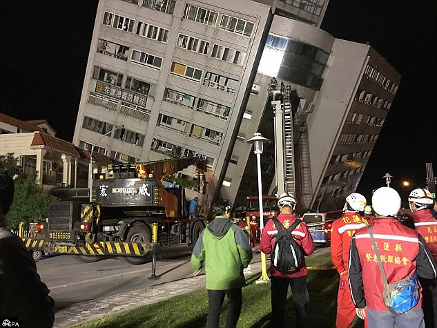 Following from January's events, a 6.4 magnitude earthquake (pictured) struck Taiwan's east coast on February 6, killing 17 people and injuring at least 180.Some have suggested the frequency and proximity of the tremors are signs of a bigger earthquake to come