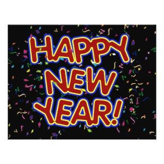 Happy New Year Cartoon Text w/Confetti Flyer Design
