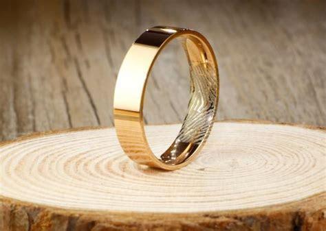 Your Actual Finger Print Rings, Handmade Rose Gold Flat