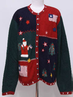 1980's Womens Patriotic Ugly Christmas Sweater