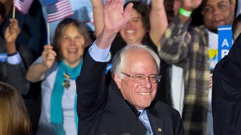 Bernie Sanders, s'exprimant devant ses partisans après sa victoire au New Hampshire.